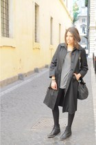 leather Zara boots - long black vintage coat - vintage Fendi bag - black America
