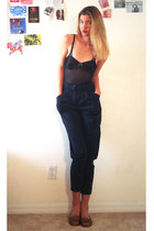 charcoal gray gilligans intimate - navy H&M pants - brown thrifted vintage shoes