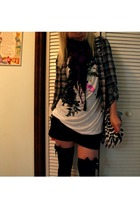 MaxRave blouse - Hot Topic scarf - Wet Seal t-shirt - Wet Seal shorts - Hot Topi