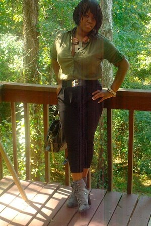 Bakers boots - H&M blouse - urban Forever 21 belt - Steve Madden pants - brown B
