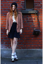 tan blazer Karl Lagerfeld jacket - off white silk Topshop shirt - dark brown sat