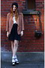 Tan-blazer-karl-lagerfeld-jacket-off-white-silk-topshop-shirt-dark-brown-sat
