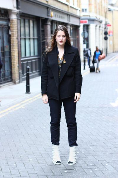 black boiled wool Limi Feu jacket - black straight leg Jil Sander pants - white