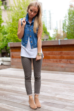 free people vest - Dolce Vita boots - Club Monaco jeans - Michael Kors watch