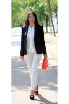 black Moschino blazer - ivory Mango jeans - red Zara bag - white Zara blouse