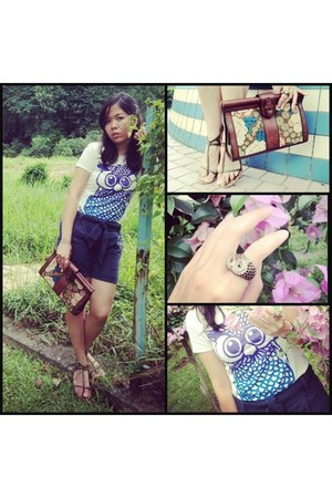 owl tshirt Trihst t-shirt - clutch Fossil bag - Mark & Spencer shorts