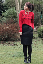 red asos sweater - black Clothing at Tesco boots - black lavish alice skirt