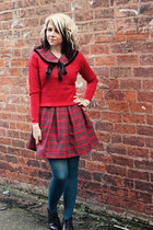 teal tights - black new look boots - red vintage dress - red new look sweater
