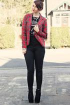 ruby red Ebay jacket - black Boohoo boots - black Topshop jeans