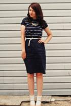 navy Shabby Apple dress - eggshell new look wedges