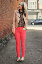 beige Kurt Geiger flats - coral Matalan jeans - neutral Miss Selfridge jacket