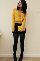 mustard new look blouse - black tesco boots - black Marks and Spencer shorts