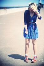 blue Topshop dress - navy Topshop cardigan - tan Blowfish heels