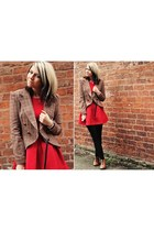 red Zara dress - bronze new look boots - tan Primark jacket