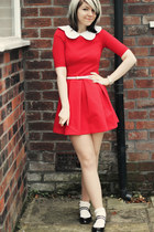 red Zara dress - ivory romwe accessories - black new look flats