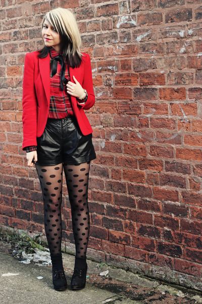 red Motel blouse - red Zara blazer - black Very shorts - black new look wedges