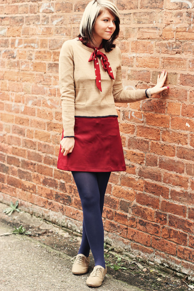 beige new look shoes - beige new look sweater - crimson new look blouse