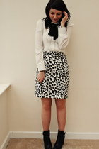 heather gray vintage skirt - black tesco boots - white OASAP blouse