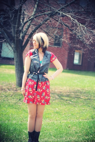 black xavi boots - ruby red modcloth dress - black Ragstock vest