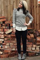 light blue Primark blouse - silver next boots - navy Topshop jeans