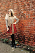 beige Miss Selfridge sweater - black new look boots - ruby red Target skirt