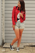 red Forever 21 jacket - ivory rapanui shirt - light blue Dorothy Perkins shorts