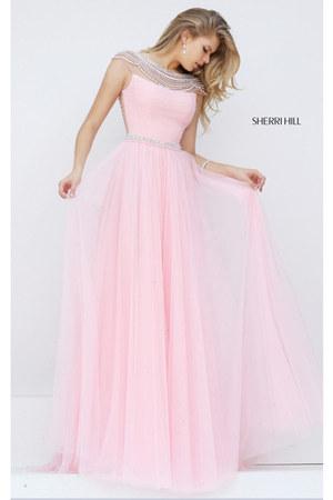 pink chiffon beads Sherri Hill 50187 dress