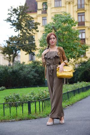 dark khaki ruffled Zara romper