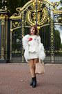 White-faux-fur-zara-coat-red-torn-ravi-famous-sweater