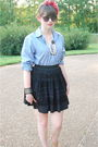 Black-wilster-skirt-blue-bill-blass-shirt-beige-pour-la-victoire-shoes-pin