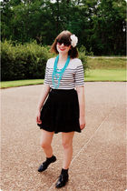 white vintage t-shirt - black Wilster skirt - blue unbranded necklace - black Vi