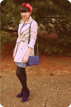 purple Payless shoes - white Old Navy dress - beige trench coat Zara coat