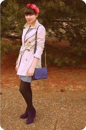 purple Payless shoes - white Old Navy dress - beige trench coat Zara coat