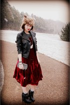 brick red vintage dress - black vintage dress - dark brown Target jacket - black