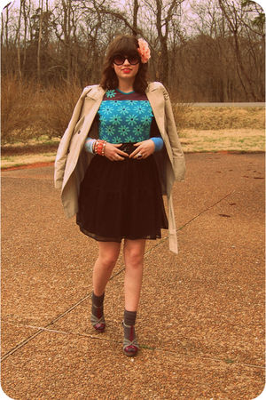 black Old Navy skirt - blue Custo Barcelona top - beige Zara coat - purple Aldo