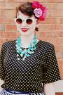 Black-polka-dotted-none-vintage-shirt-white-none-vintage-shorts-light-blue-b