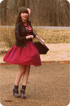 gray Aldo shoes - brown Target jacket - gray UAL necklace - red Wyeth skirt