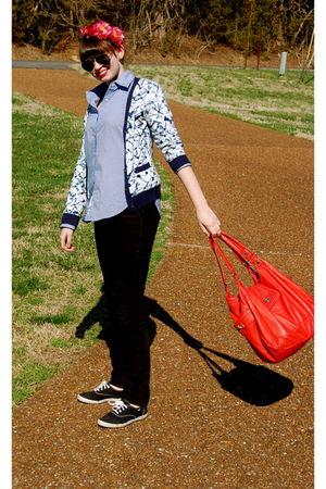 black Guess jeans - blue Bill Blass shirt - blue Thakoon for Target cardigan - o