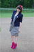 white Jean Paul Gaultier for Target dress - blue vintage blazer - pink Mixx shoe