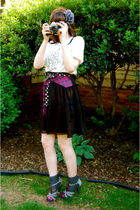 black Old Navy skirt - white Urban Outfitters t-shirt - purple handmade belt - g