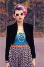 Black-bolero-none-jacket-turquoise-blue-target-t-shirt-tan-floral-none-skirt