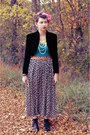 Black-bolero-none-jacket-turquoise-blue-target-t-shirt-tan-floral-none-skirt