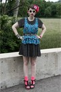Black-polka-dotted-dress-hot-pink-neon-target-socks-blue-flowered-forever-21