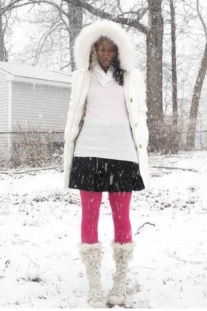 white aldos boots - white baby phat coat