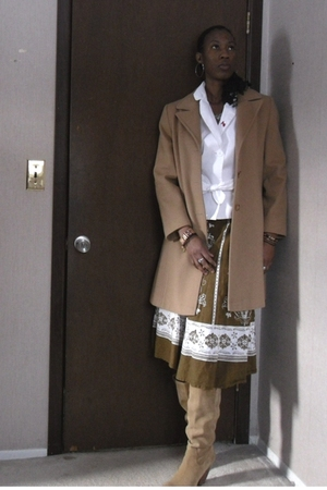 brown shoes - brown coat - white jacket