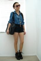 UO shirt - seychelles boots - Zara purse - f21 accessories