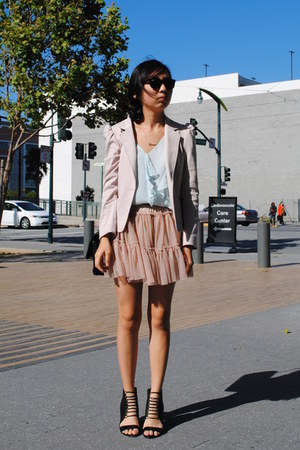 H&M blazer - Aldo wedges - banana republic blouse