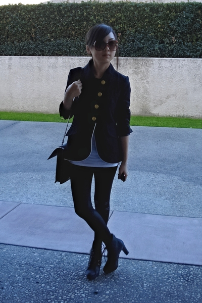 f21 blazer - f21 liquid leggins - loehmanns lace ups