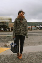 asos hat - army UO jacket - Mulberry for Target bag - navy trousers Zara pants