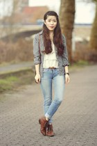 ivory H&M top - dark brown H&M boots - sky blue H&M jeans